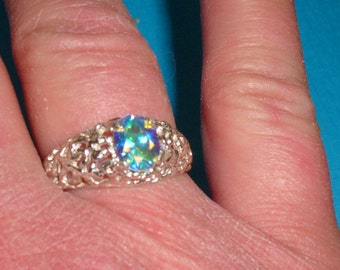 Topaz Ring - Opalescent Topaz Ring - Sterling Silver Ring - Ladies Ring Size 8 3/4