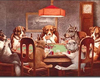 "Tin Sign "" Dogs Playing Poker "" 12""x16"" Man Cave"