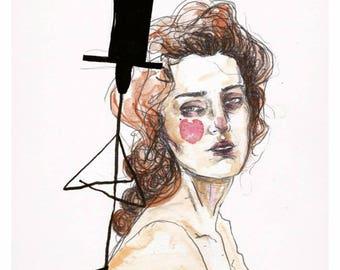 Tell me / Handmade drawing prints / Fine art