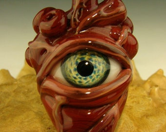 Glass Human Heart Eye Pendant lampwork Boro focal oddity bead by Kenny Talamas (ready to ship)