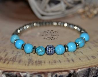 Turquoise Bracelet, Fancy Bracelet, Beaded Bracelet, Gemstone Bracelet, Gift for Her, Gift Idea, Women's Bracelet, Women Jewelry