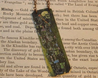Necklace Art of Klimt Death mixed media jewelry