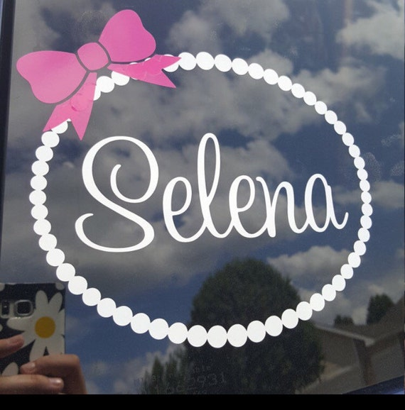 Personalized car decal name pearl border with bow car decal