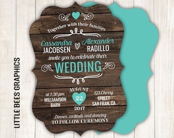 10 Rustic Country Wedding Invitations, Ornate Die Cut Invites, Barn Wedding Invites, Wedding Suite, Available in any color