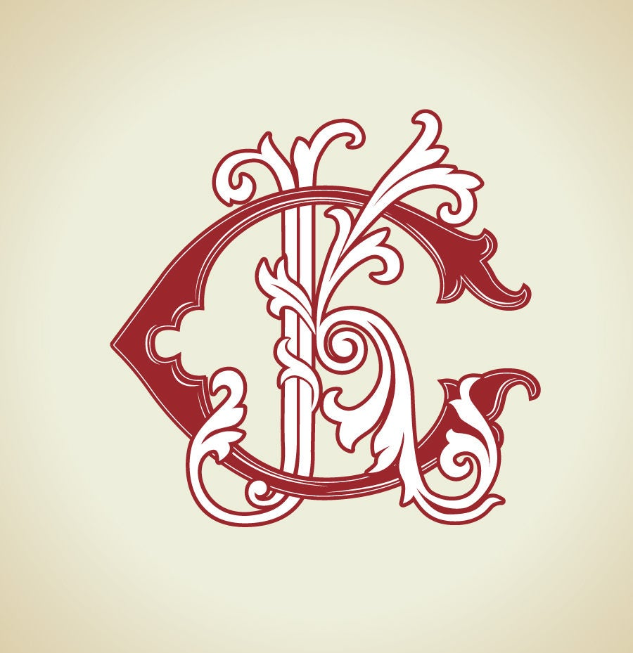 Wedding Monogram: Wedding Logo CK KC Vintage Monogram Wedding Clip Art
