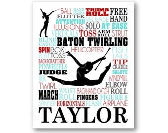 Baton Twirling Typography Poster Print, Baton Team Gift, Baton Twirler Rhythmic Gymnast Wall Art, Baton Coach Gift, Baton Canvas, Baton Art