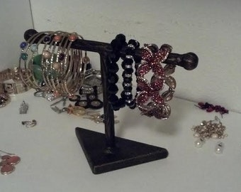 Perfect Gift 1-Small T Wrought Iron JEWELRY Holder, Bracelet Display / Watch Display / Bracelet Holder Hand made & Hand Painted Italian rod.