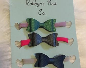 Faux Leather Baby Bows ... FREE SHIPPING
