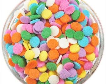 "Pastel Confetti Sprinkles 8 OZ Rainbow Sequin 1/4"" Certified Kosher, Gluten Free Cupcake Ice Cream Sprinkles 1/2 pound Half LB"