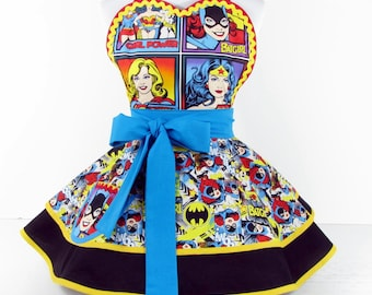 Clearance Sale Summer Clearance Girl Power Comic Hero Apron by Dotties Diner Ready to Ship