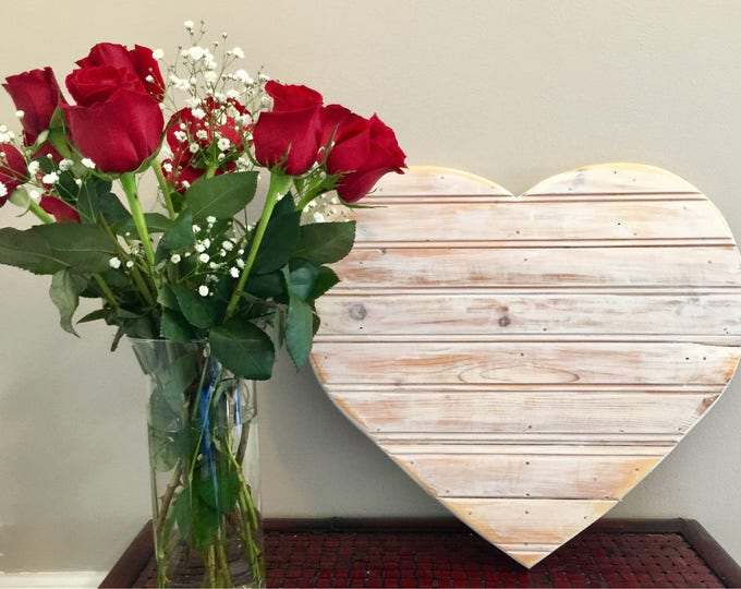 Reclaimed rustic wood heart farmhouse coastal beadboard wedding Valentines decoration engagement photo save the date Beach House Dreams OBX