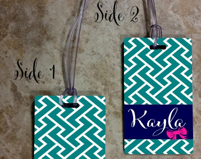 Custom Rectangle Monogrammed Luggage Tag - Custom Travel Luggage Tag - Bag Tags - Monogram Bag Tag - Rectangle Tag - Design #RBT100