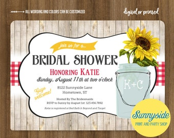 Sunflower Bridal Shower Invitation, printable or printed invitation, summer wedding, picnic, mason jar with sunflowers and red gingham bbq