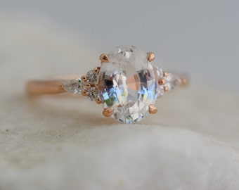 Engagement Ring Rose gold engagement ring White Sapphire ring Campari ring Oval Rose gold diamond ring 2ct ring Eidelprecious ring