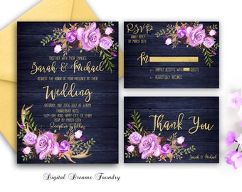 Navy Blue Wedding Invitation Printable Purple Floral Wedding