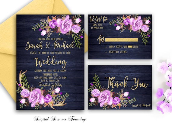 Purple And Blue Wedding Invitations: Navy Blue Wedding Invitation Printable Purple Floral Wedding