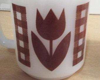 Glasbake Brown Tulip Mug Cup