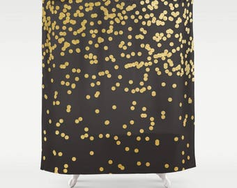 Black Shower Curtain - Polka Dot Shower Curtain - Shower Curtains for Bathrooms - FREE Shipping