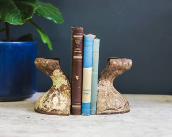 Pair Cast Iron Claw Foot Bookends with Beautiful patina