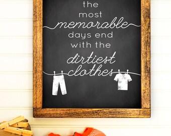 Laundry Room Print - Laundry Room Art - Laundry Decor - Laundry Poster - Chalkboard Laundry Print - Printable Home Decor - 8x10 - 11x14