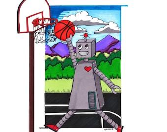 """robot basketball : GICLEE PRINT  11""""X14"""""""