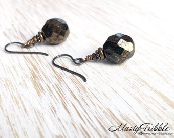 Black Earrings, Czech Glass Earrings, Formal Earrings, Brass Earrings, Simple Earrings, Minimalist Jewelry, Elegant Earrings, Fancy Earrings