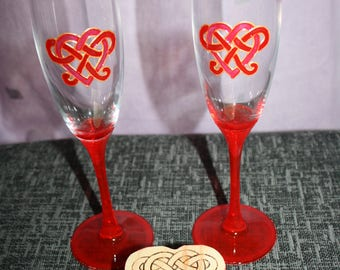 Celtic Heart Champagne Glasses; Champagne Flutes; Wedding Gift Set; Champagne & Chocolates Gift; Love Heart; Red Champagne Flutes and Box;