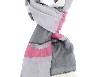 Abstract Print Scarf ⊿ Everyday Scarf ⊿ Extra long scarf ⊿ Abstract pink scarf ⊿ Christmas Gift ⊿ Wife Gift ⊿ Birthday Gift
