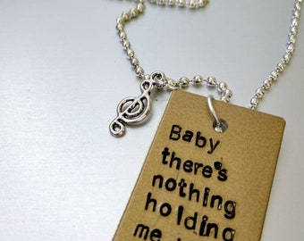 Shawn Mendes, charm handstamped, there's nothing holding me back, lyrics from the song, for Shawn mendes lovers
