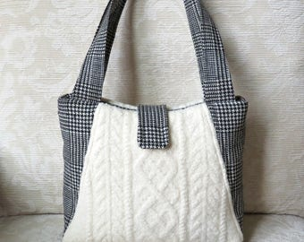 Willow Handbag in Black and White, Upcycled Felted Wool Sweater Purse, Creamy White Wool Sweater and Plaid