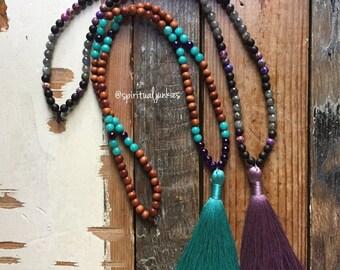 Sandalwood + Jade OR Black Sandalwood, Jasper + Labradorite with Tassle | Mini Mala | 108 Beads | 6 mm | Yoga + Meditation | Kids Jewelry