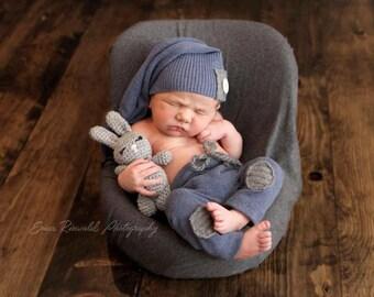 Newborn crocheted bunny rabbit buddy photo prop NOT toy