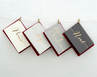 Luxury Hand Pressed Christmas Cards - Merry Christmas - Noel - Joy - Peace - Xmas Cards - Greeting Cards - Holiday Cards - Festive Cards