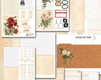"Mini Album, Journal crafting kit disc planner, Vintage, digital print, 4.5_5"", Digital Scrapbooking, old paper ephemera, junk journal"