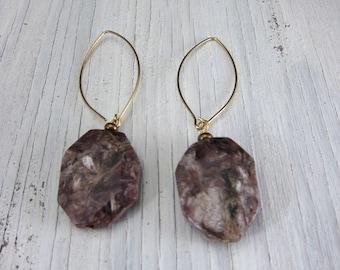 Purple Charoite Stone Earrings Long Russian Power Natural Stone