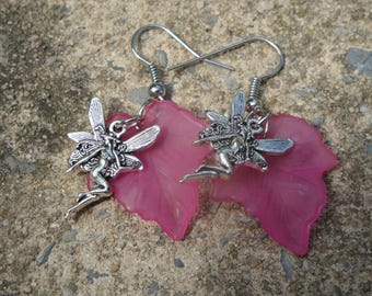 Pink Fairy Earrings, Fairy Earrings, Fae Earrings, Pink Leaf and Fairy Earrings