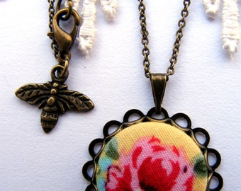 Yellow and Pink english rose fabric button necklace