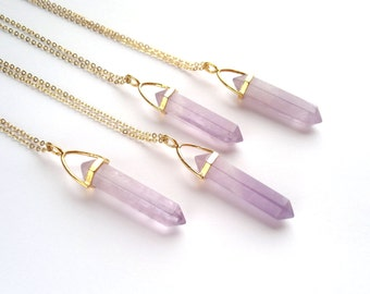Amethyst Crystal Point Necklace Amethyst Pendant Stone Necklace Amethyst Jewelry Natural Stone Chain Mineral Amethyst Layering Necklace