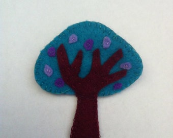 Forest brooch - purple flowering tree
