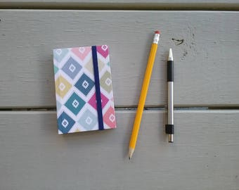 """Diamond Pattern Pocket-Sized Handmade Notebook - approx. 3""""x4"""" - blank, 100 pages - elastic closure"""