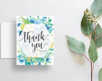 Watercolor Floral Thank You Cards / Blue Yellow Green Watercolor Floral / Calligraphy / Thank You Notes / Printed Folded Thank You Cards