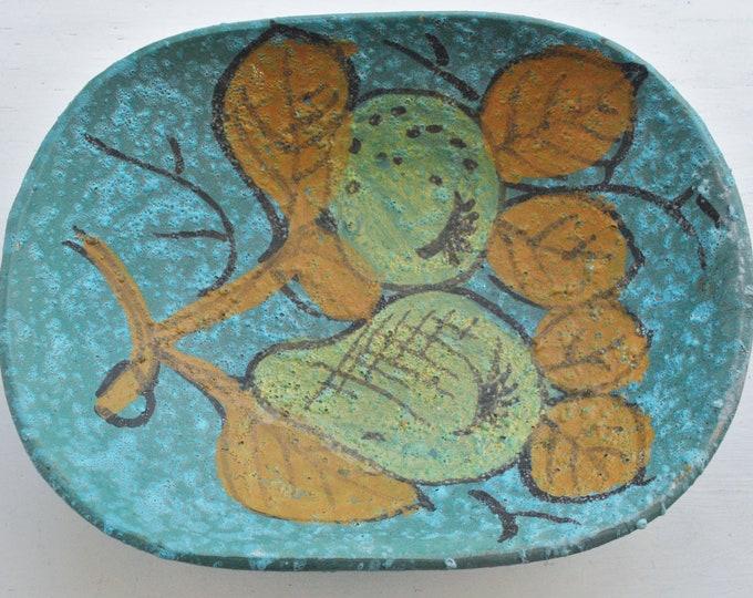 Vintage Italian Blue Pottery Dish Mid Century Modern Rimini Bitossi Rosenthal Netter Style