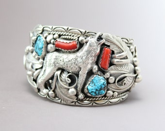 Sterling Silver Signed Navajo Wolf Cuff Bracelet with Turquoise and Coral by Gene Natan