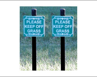 "Lot of Two 4"" x 4"" Please KEEP OFF GRASS Lawn Signs, Yard Sign"
