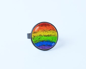 Rainbow ring Gay Pride ring Adjustable ring Rainbow jewelry Gay Pride jewelry Rainbow jewellery Gift idea Rainbow accessories LGBT Colorful
