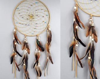 Extra Large Dream Catcher, Wall Hanging Dreamcatcher, Beige Dreamcatcher, Bohemian Wall Hanging, Rustic Dream Catcher