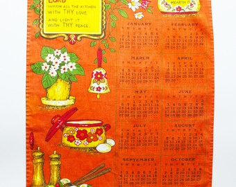 1979 kitchen prayer orange linen tea towel 70s calendar