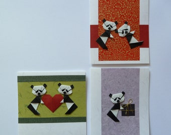 Panda Stationery Set, Three Cards, Handmade Origami Panda Cards, Panda Love, Different Sizes, Blank Inside, Suits Many Different Occasions