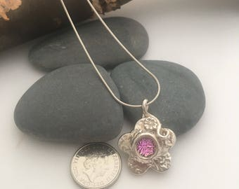 Dichroic glass and silver flower necklace - Silver flower necklace with pink glass
