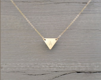 Dainty Gold Triangle Necklace / Layering Necklace / Minimal Gold Geometric Necklace 14K Gold Fill TRIANGLE Necklace Layered and Long LN107_H